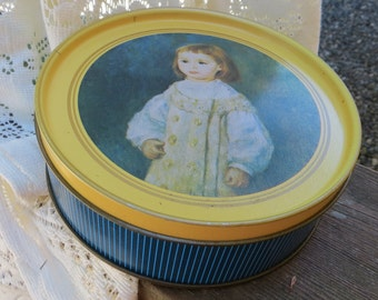Round Vintage Tin with Little Girl Blue and Yellow