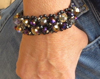 Handwoven Beaded Cuff Bracelet Black and Gold Sparkly Faceted Glass Beads Button Clasp