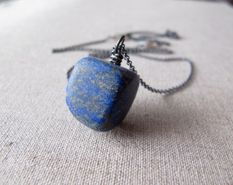Rustic Lapis Lazuli Necklace Oxidized Sterling Silver