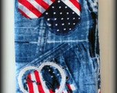 Jeans, hearts and a peace symbol Hand made eyeglass and sunglasses case