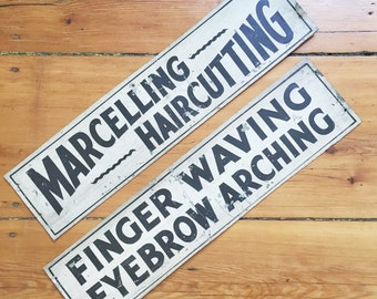 Set of 2 Vintage 1920s Hair Salon Signs