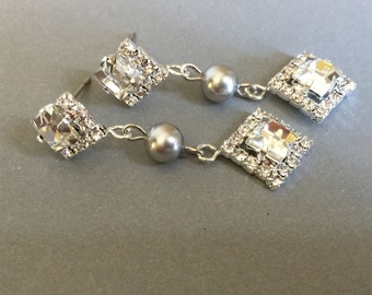 Pearl Bridesmaid Earrings in Light Grey Long Rhinestone Square Dangle and matching posts bridal wedding bridesmaid gift mother of the bride