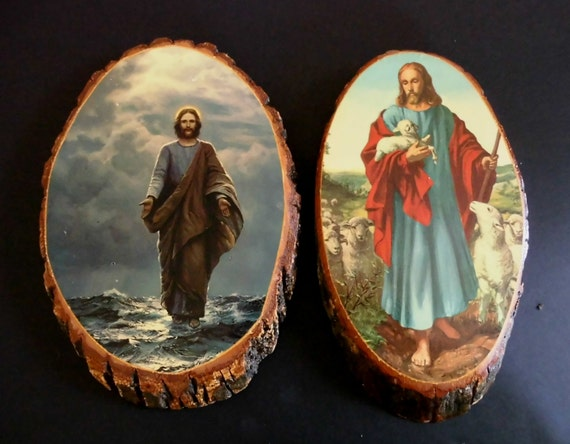 Two Vintage 1950s Wood Wall Religious Picture Plaques Of Jesus