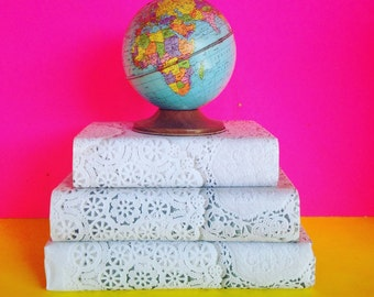 Vintage Books covered in Doily  paper for your shelf, your wedding etc. Interior design White Cream