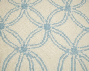 44 x 28 Inches Cornflower Blue and White Plush Double Wedding Rings and Lines Vintage Chenille Bedspread Fabric Piece