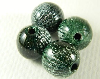 Dark Green Torch Fired Enameled Beads Set