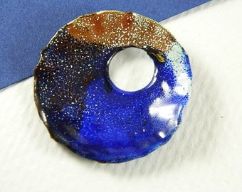 Large Blue, Orange, and White Torch Enameled Pendant/Component