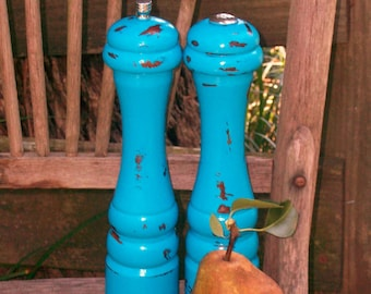 Set of Vintage Turquoise Blue Salt and Pepper Shakers