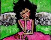 Pondering Angel canvas original acrylic illustration 8x10