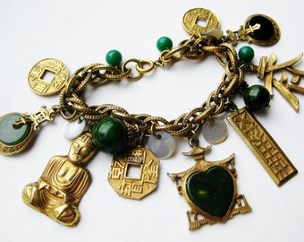 Vintage 60s Gold Signed ART Chinese Buddha Faux Jade Oriental Charm Bracelet