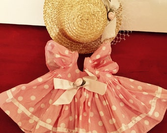 Sunmmer Pink and White Doll Dress With Hat