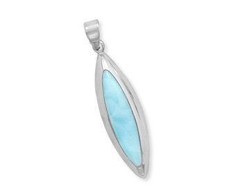 Marquise Larimar Pendant in 925 Sterling Silver, Rhodium Plated for non tarnish