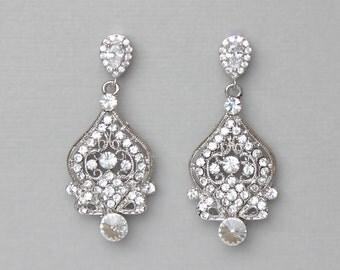 Chandelier Crystal Earrings, Crystal Bridal Earrings, Vintage Wedding Jewelry, Clip on Earrings Option, 18K Gold & Rose Gold, LUCY 3