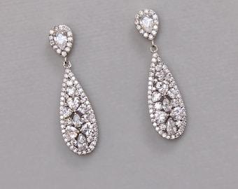 Crystal Bridal Earrings, Crystal Drop Earrings, Teardrop Wedding Earrings, CLIP ON Option, Bridal Jewelry, RITA Drop