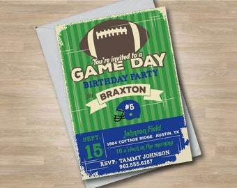 Game Day Football Invitation, Football Birthday Invite, Sports Birthday Party, Vintage Style, Green and Blue