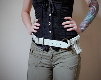 Unisex Leather Belt - hint of green  - bushcraft - steampunk - burning man - festivals - apocalypse, Please read Description for size
