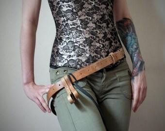 Unisex Leather Belt - Natural Tan - steampunk - burning man - festivals - bushcraft - apocalypse, Please read Description for size
