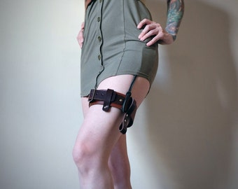Handmade Real Leather Garter - Brown - steampunk - burning man - festivals - apocalypse, Please read Description for size