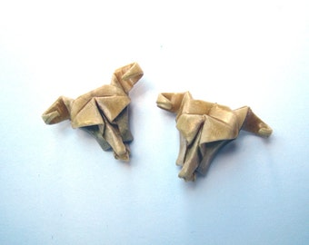 origami cow skull stud earrings