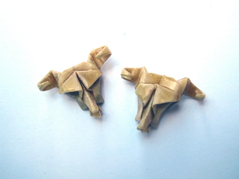 origami cow skull stud earrings