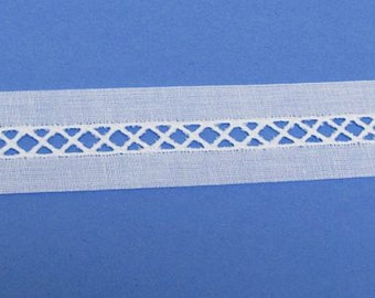 White Swiss Bridging Insertion - Heirloom Sewing Supplies - Doll Dress Supplies