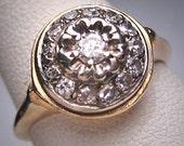 Antique Diamond Wedding Ring Vintage Art Deco 1930 Halo 14K Gold Floral