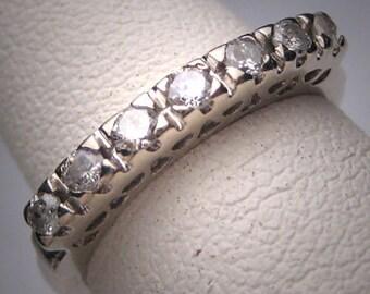 Antique Diamond Wedding Band Ring Vintage Art Deco White Gold c.1930s