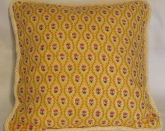 French Country Cottage Yellow Petit Floral Pillow Provence Cushion  Garden