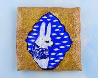 Bunny Tile Wall Hanging hand made ceramic art