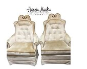 Pair Chairs French Hollywood Regency Original Mid Century Glam Chinoiserie Chic Pagoda Or Re-Upholster Custom
