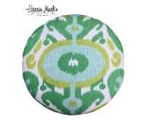 Pouf Ottoman Ikat Only One Vintage Hollywood Regency Nailhead Trim Green Emerald Citron Aqua Turquoise