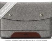 High quality Macbook 12 Case Sleeve 100% Wool Felt and Italian Vegetable Tanned Leather HA-12-GLB