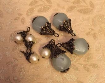 8 piece set Limited supply Dangle drops  charms earrings pendants Brass czech glass pearl