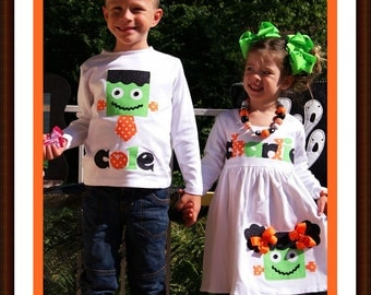 Frankenstein Sibling Set / Personalized Name Dress and Boy Name Shirt