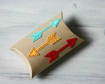 Small Gift Box - Geometric Arrows - Hand Embroidered - Pillow Box - Party Favor - Packaging - Small Birthday Treats - Anniversary - Teenager
