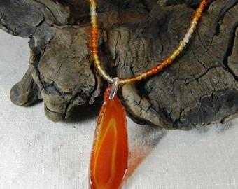 "Orange carnelian necklace 22"" long large 4"" carnelian slice pendant July birthstone semiprecious stone jewelry  in a colorful gift bag 11519"