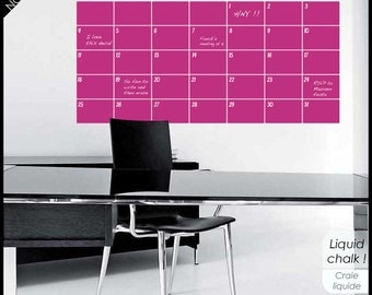 Chalkboard Monthly Wall Calendar with Memo - With weekend wide zones and Month - Year spot. Liquid chalk pen