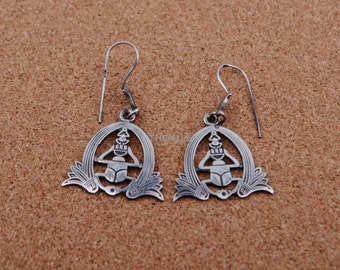 Egyptian  Sterling Silver Scarab Flanked By Two Earrings