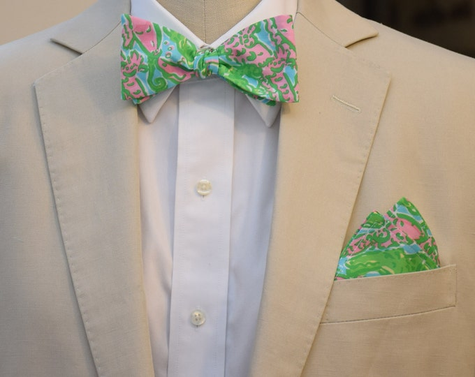 Men's Pocket Square and Bow Tie in Lilly Chomp Chomp pink and green, wedding party wear, groomsmen gift, groom bow tie set, men's gift set