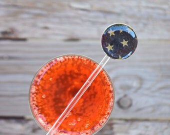 Drink stirrers gold stars on black set of 6 cocktails party Halloween New Year Eve Gala birthday swizzle sticks serving