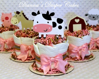 Baby Diaper Cakes Minis Set of 5 Country Farm Animals Girls Shower Gift or Centerpiece