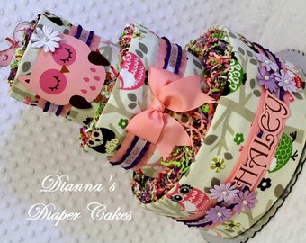 Baby Diaper Cake Pink Owls Purple Shower Gift or Centerpiece