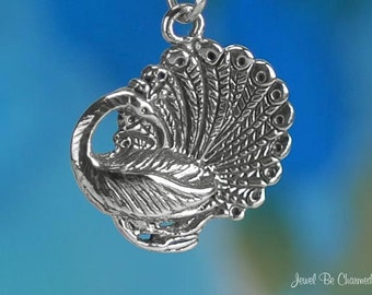 Sterling Silver Peacock Charm Pretty Peacocks Bird Peafowl Solid .925