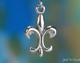 Fleur de Lis Charm Sterling Silver Fleur-De-Lys Symbol Solid .925
