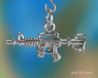Sterling Silver Machine Gun Charm Automatic Weapon Guns 3D Solid .925