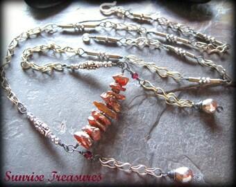 Mystic Raw Garnet, Pyrite Necklace, Rough Organic Semi Precious Stone Necklace, Kuchi Jewelry, Bali Sterling Silver, Artisan Jewelry