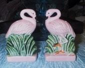 Vintage Pink Flamingo Salt and Pepper Shakers
