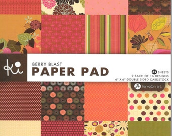 6 x 6  Paper Pad  ~~  Berry Blast  ~~   Double sided paper  ~~  NEW  (#1358)