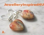 Mexican Lace Agate Orange Earrings. Heart. Lever Back SS Earrings.  Semi Precious Banded Agate Earrings.  Statement Earrings.