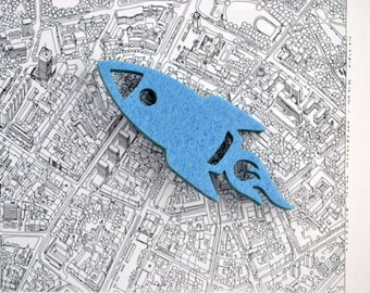 Felt brooch blue rocket shape blue rocket